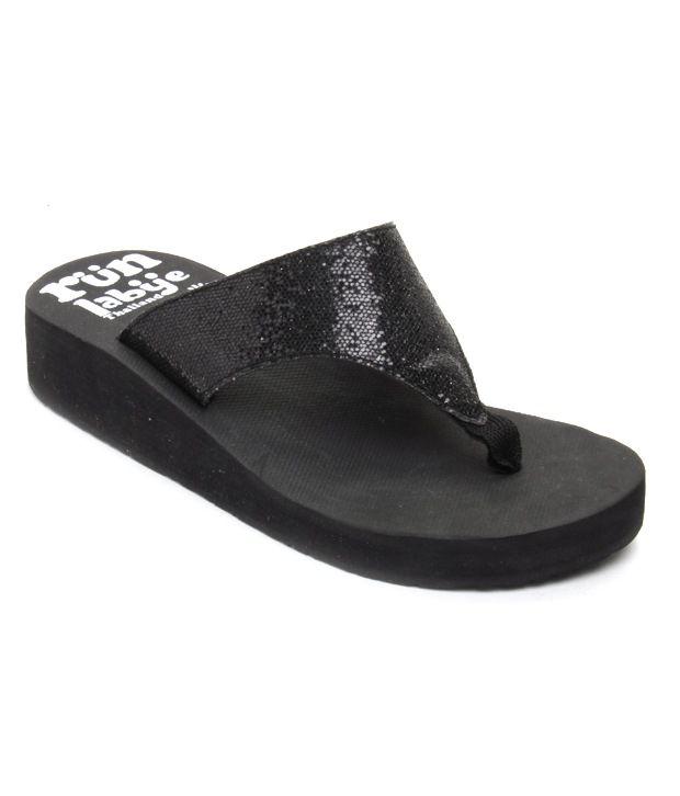 FNB-Nell Shiny Black Platform Slippers