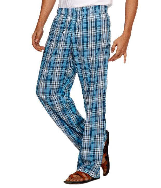 Navyfont Navy Font Sky Blue Cotton Pyjama (Multicolor)