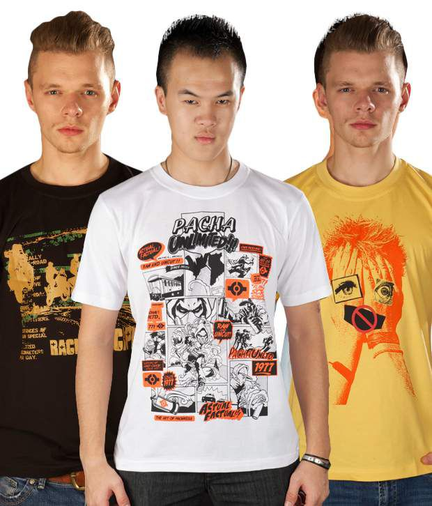 TSG Pack of Yellow-White-Black T-Shirts With Free Watch & Sunglass