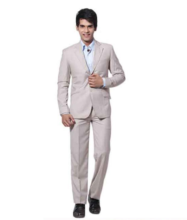 Canary London Cream Formal Suit With Free Shirt, Diary & Neck Tie