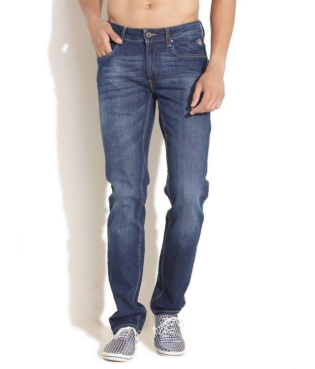 Flying Machine Blue Skinny Mid Rise Jeans