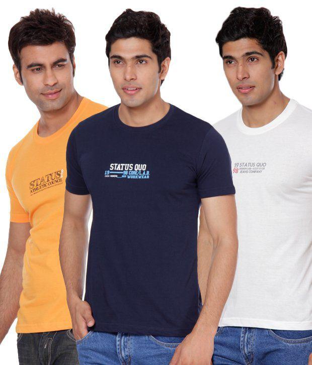 Status Quo Off White-Navy-Light Orange Round Neck Pack of 3 T-shirts