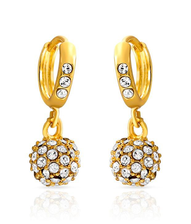 Mahi Golden Alloy Drop Earrings