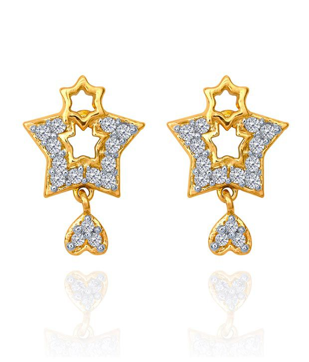Mahi Daily wear Fashion Gold Plated Starrred Treat Earrings of Brass Alloy for Women ER1108600G