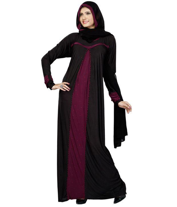 Fabdeal Elegant Black Burqa Price in India - Buy Fabdeal Elegant ...