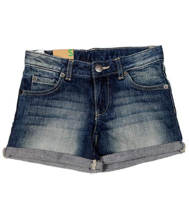 Benetton Blue Cotton Girls - Smart Shorts For Kids