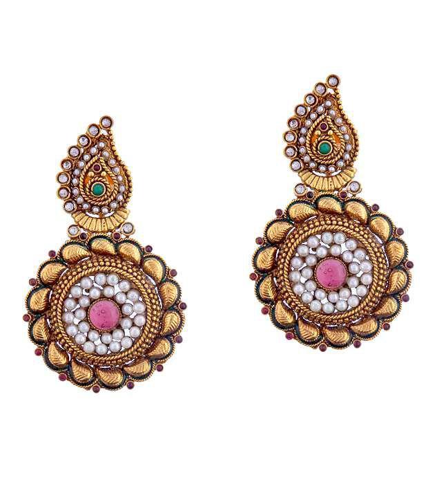 Antique Impressions Paisley Kundan Hanging Earrings