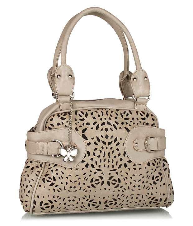 Butterflies BNS0219 Beige Cut Design Shoulder Bag