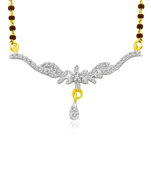 Sparkles 0.09 Cts SI-GH Quality Silver &  Diamonds Mangalsutra
