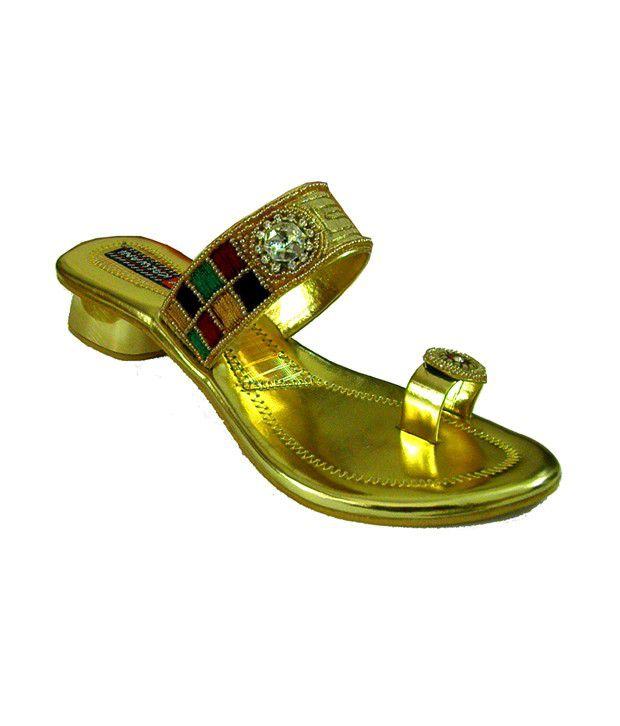 Indirang Enticing Golden Sip-on Heels