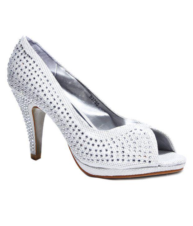 Do Bhai-Shoebazaar Studded Silver Peep Toe Pumps