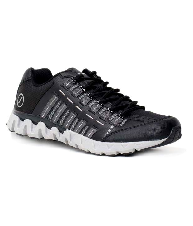 E-Scan Black Zig Zag Sports Shoes