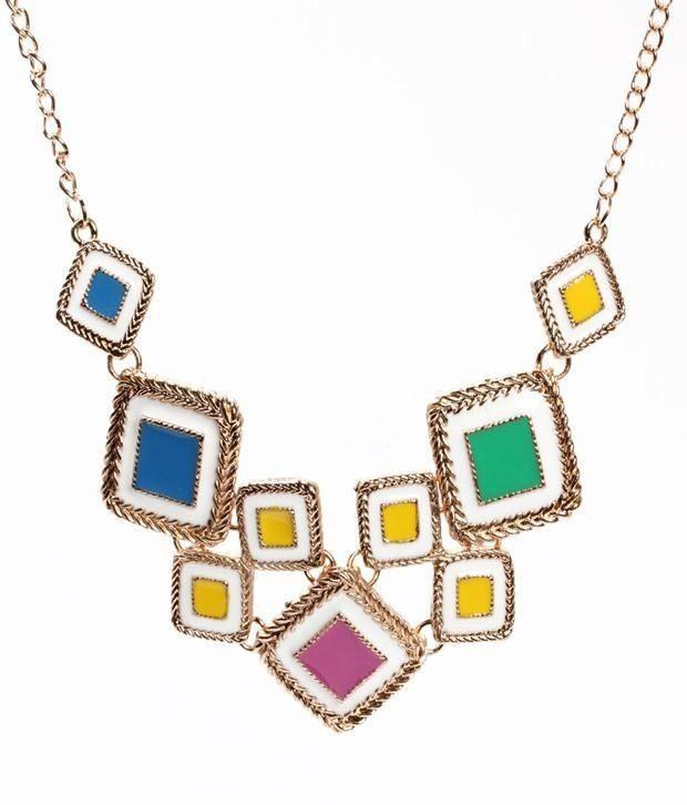 Khoobsurati Duo-Square Chipped Multicolor Necklace