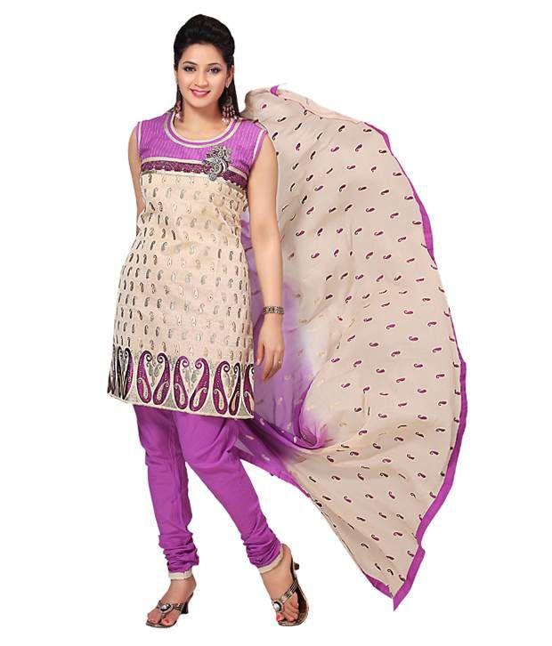 Azva Beige-Pink Emboidered Cotton Stitched Salwar Suit