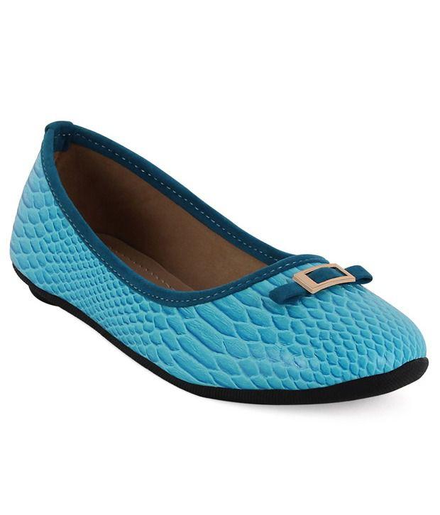 Get Glamr Textured Blue Ballerinas