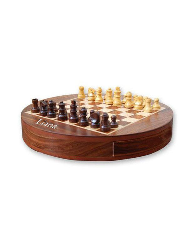 Liana Magnetic Chess Round ( Sheesham Woods ) 6 Inch