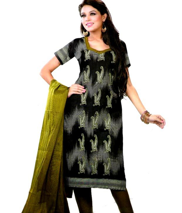 Reya Black Cotton Unstitched Dress Material
