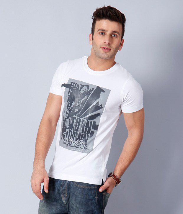 Riverstone White Cotton T Shirt