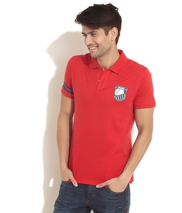 Puma Red Applique Polo T- Shirt