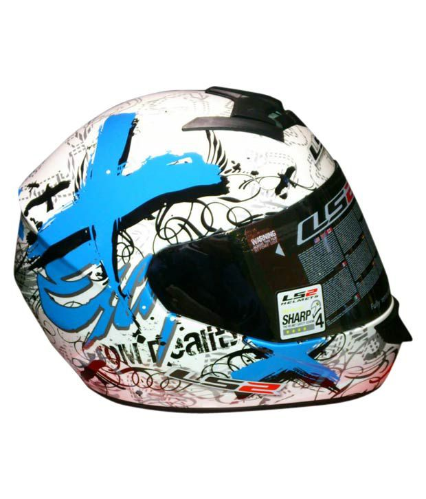 LS2 - Full Face Helmet - FF351 Xscape (White/Blue) [Size : 58cms] - ECE Certified
