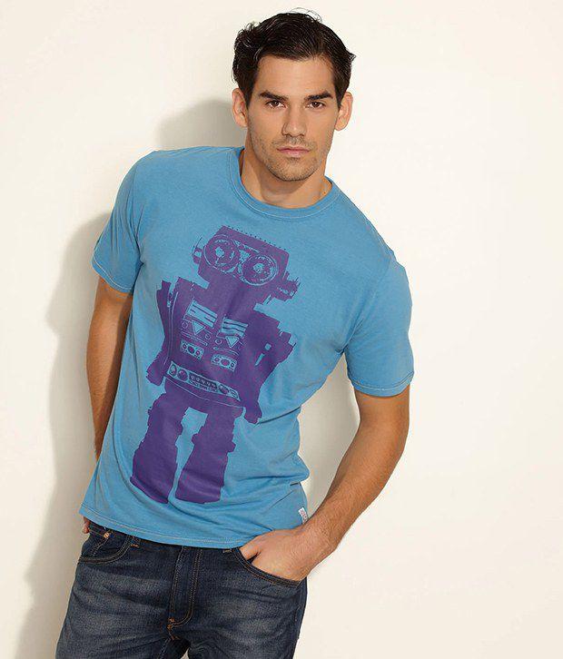 Fcuk Blue Contrast Robot Print Cotton Tee