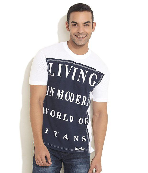 Steenbok Dark Blue Typo Applique T- Shirt