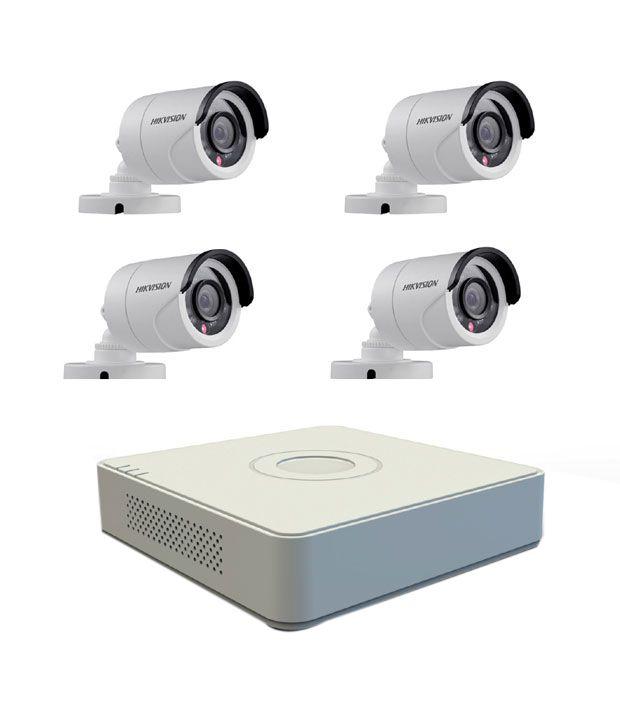 Hikvision 4 CH DVR + 4 Bullet IR-600 TVL Camera CCTV Surveillance System
