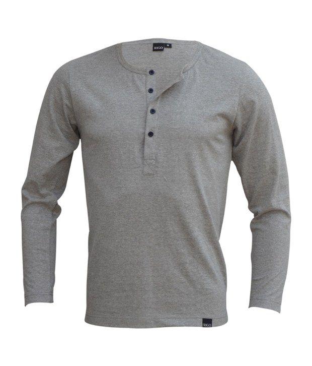 Rigo Grey Melange Slim Fit Henley T-Shirt