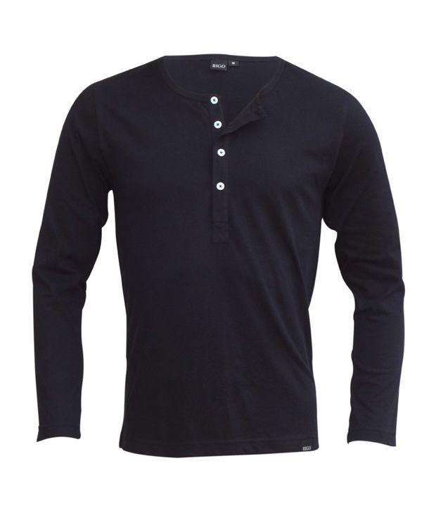 Rigo Black Slim Fit Henley T-Shirt