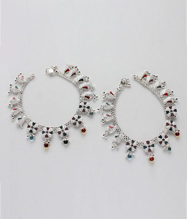 Variation Flower Peatals Multicolor Silver Plated Anklets