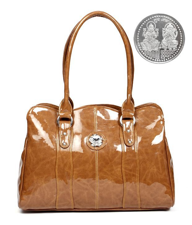 The Pari Glossy Brown Shoulder Bag With Free Silver Plated Coin
