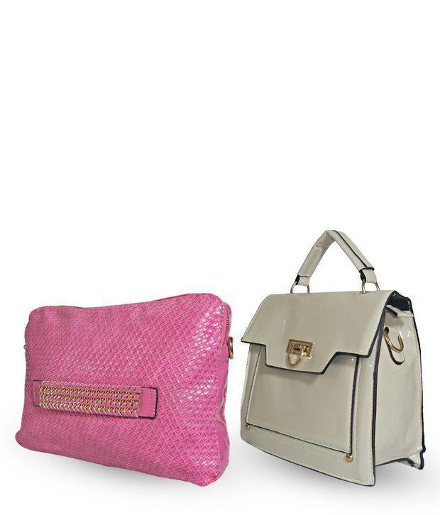 Akriti Pink Shoulder Bag & Cream Cross Body Sling Bag Combo