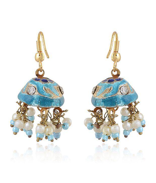 Rajrang Light Blue Dome Lac Earrings
