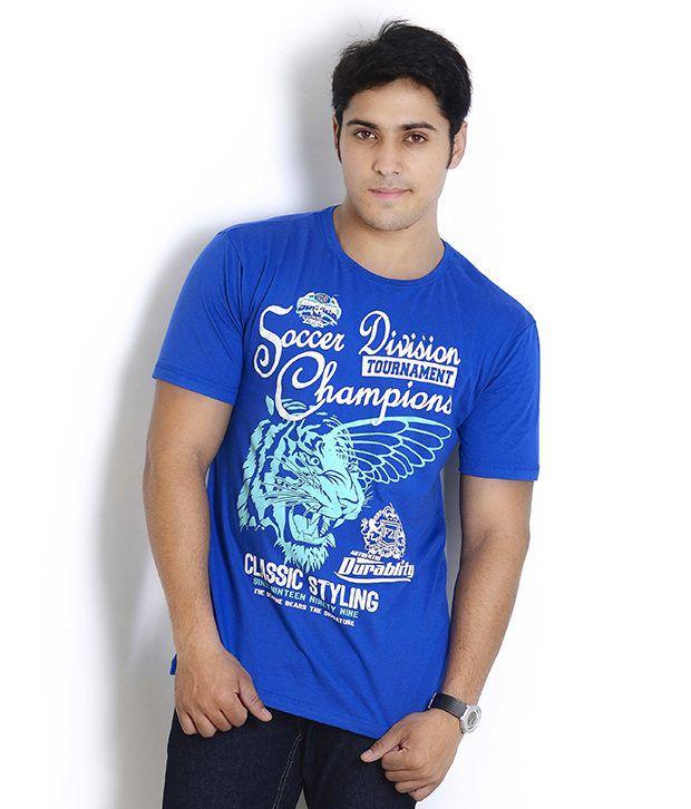 Globus Smart Cobalt Blue Printed T Shirt
