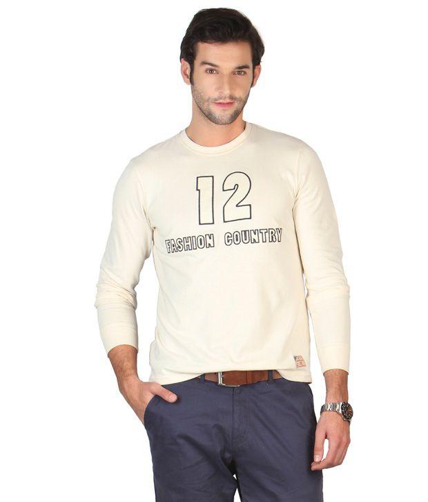 American Swan Cream Printed T Shirt