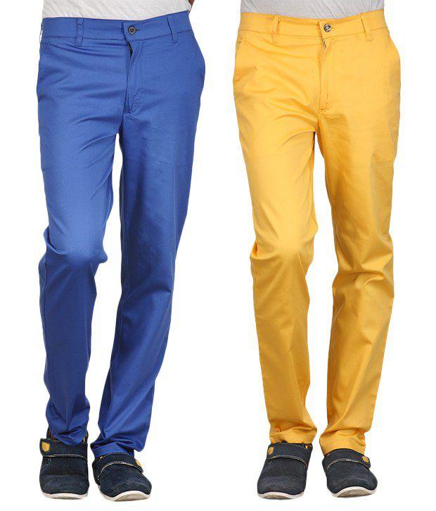 Phoenix Blue-Yellow Cotton Pack Of 2 Chinos
