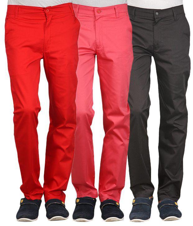 Phoenix Red-Orange-Black Cotton Pack Of 3 Chinos