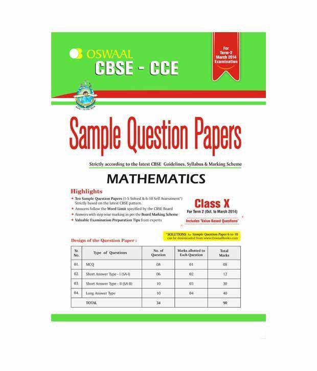 Oswal Sample question paper Mathematics class-X Term-II