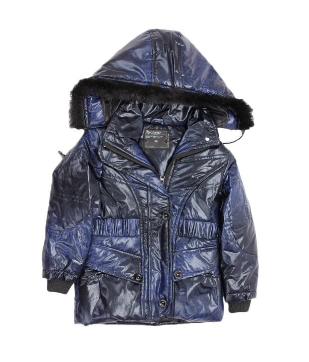 Okane Black-Navy Hooded Jacket For Kids
