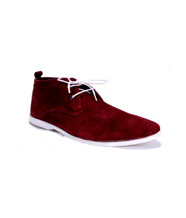 Mocc's Maroon Ankle Length Boots