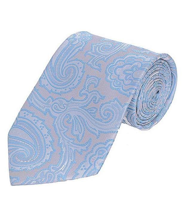 Tiekart Light Blue & Grey Paisley Design Tie