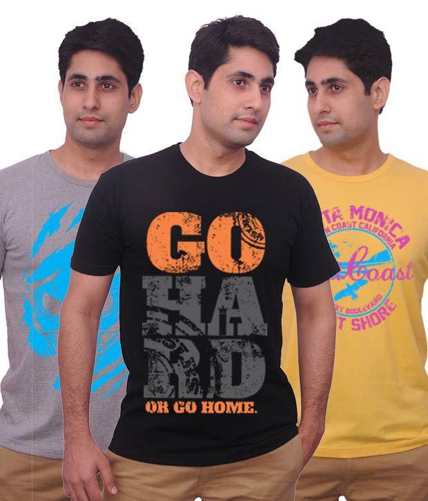 Inkovy Stylish Pack Of 3 Ultra Cool Cotton T Shirts