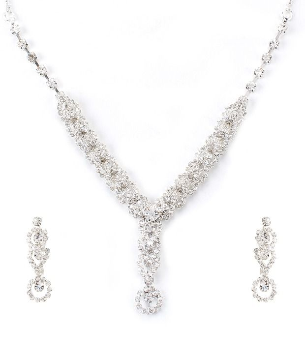 Ethnic Jewels AD Ornate Shine Necklace Set