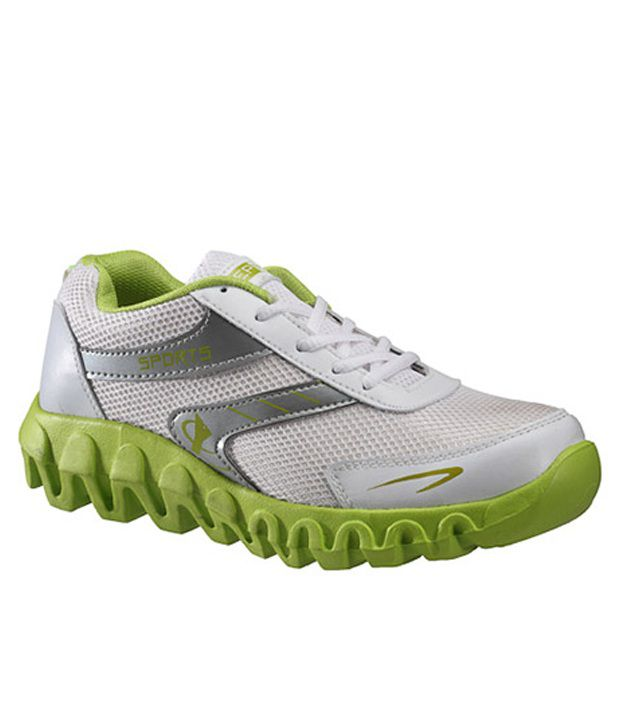 Yepme Duel Durable White and Fluorescent Green Sports Shoes