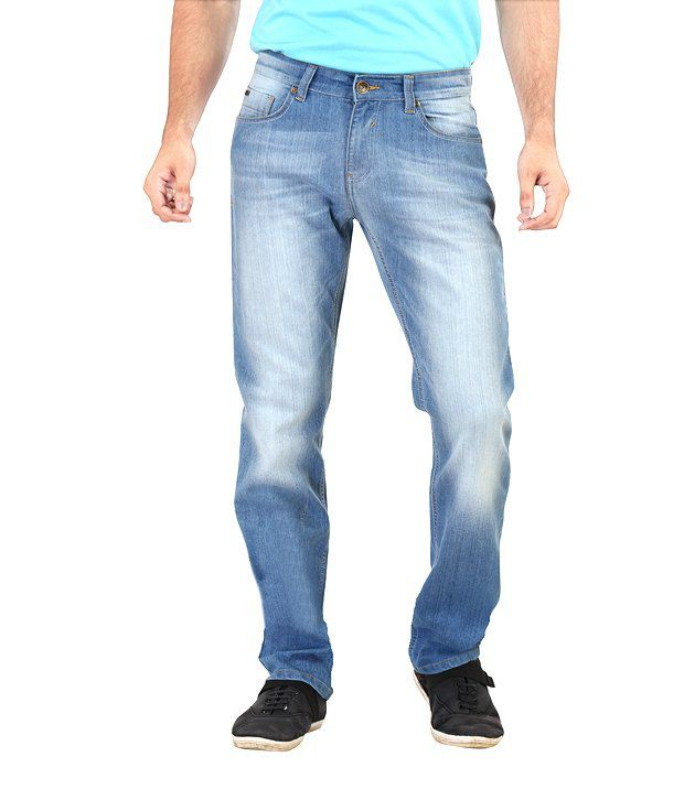 Euro Jeans Soft Blue Faded Jeans For Men