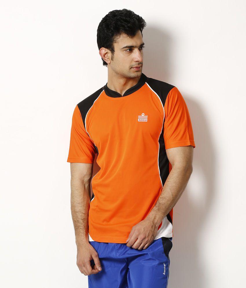 Admiral Orange V-Neck Basics T Shirt