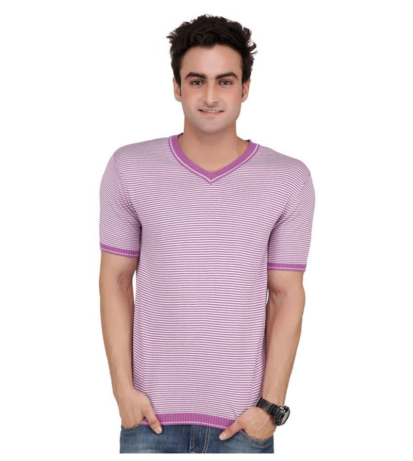 Monteil & Munero Exclusive Cotton Turquoise Half Sleeve V-Neck T-Shirt