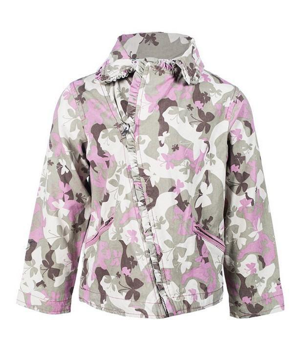 Nauti Nati 100% Cotton Army Print Jacket For Kids