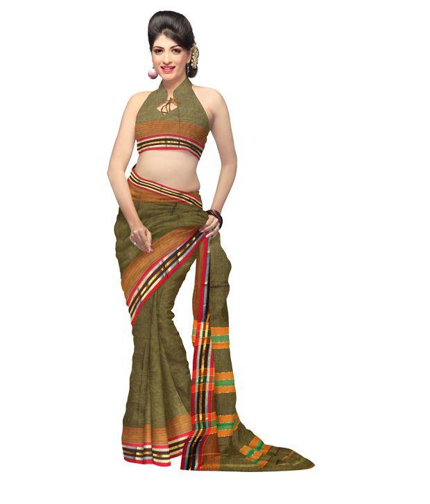 Unnati Silks Green Border Work Cotton Saree