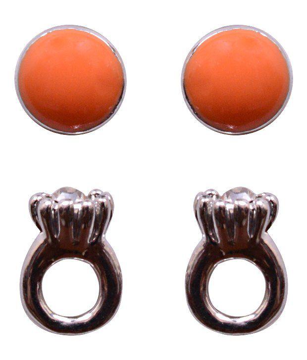 Trendy Baubles Orange Dot & Ring Studs Combo